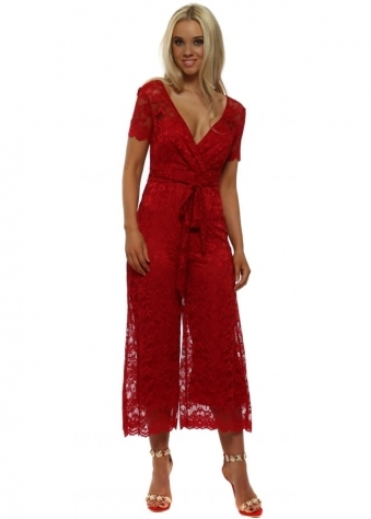 Red Wide Leg Lace Jumpsuit