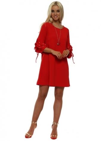 Red Pearl Embelllished Necklace Shift Dress
