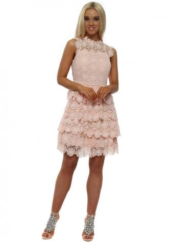 Peach Lace Crochet Layered Mini Dress