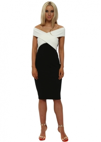 Black & Ivory Cross Over Midi Dress