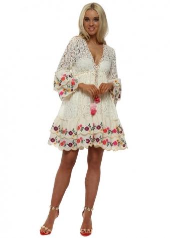 Fleur Ivory Lace Layered Dress
