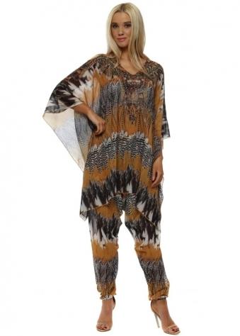 Mustard Feather Print Kaftan Lounge Suit