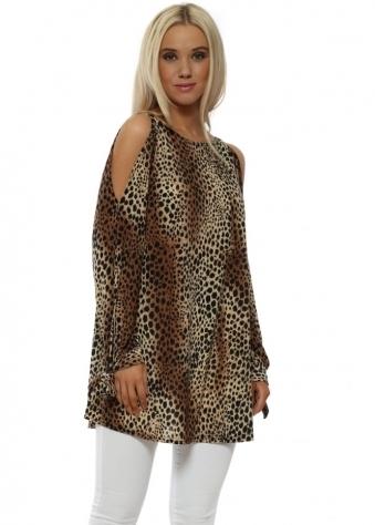 Mini Leopard Print Cold Shoulder Top