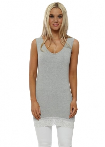 Suzy Lace Border Vest In Grey White Melange