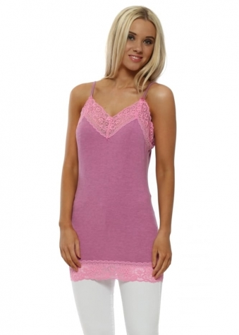Ling Ling Pinkest Melange Lace Trim Strappy Vest