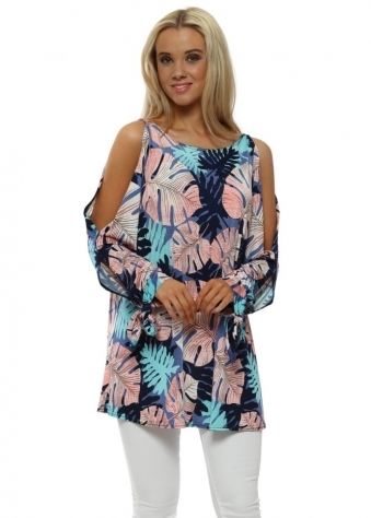 Pink Palm Print Cold Shoulder Top