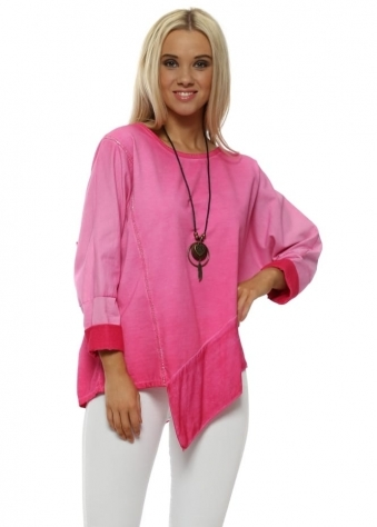 Fuchsia Pink Asymmetric Cotton Necklace Top