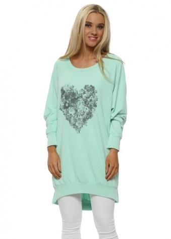 Sea Jade Floral Heart Long Sweater