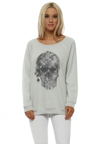 Grey White Pretty Skull Sweater