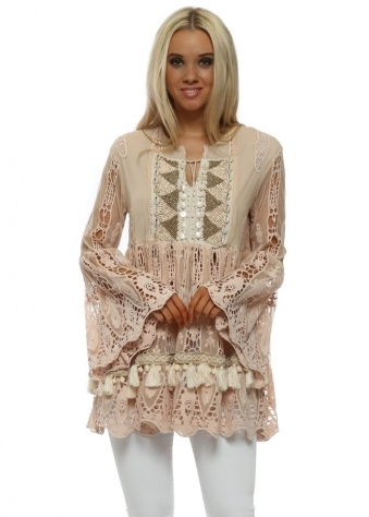 Etherum Nude Pink Embroidered Crochet & Shell Top
