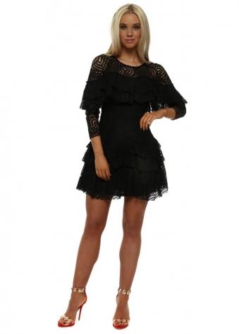 Black Lace Layered Mini Dress