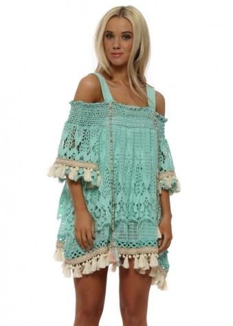 Etage Turquoise Lace Layered Tassel Beach Dress