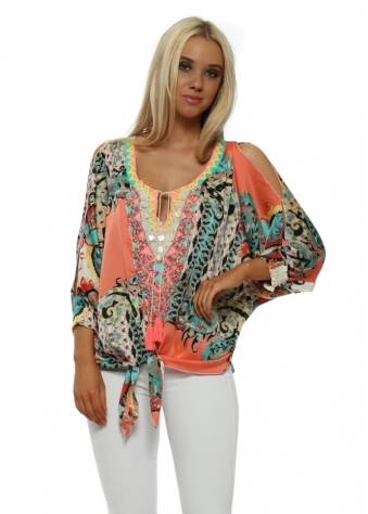 Opera Coral Printed Tie Front Top