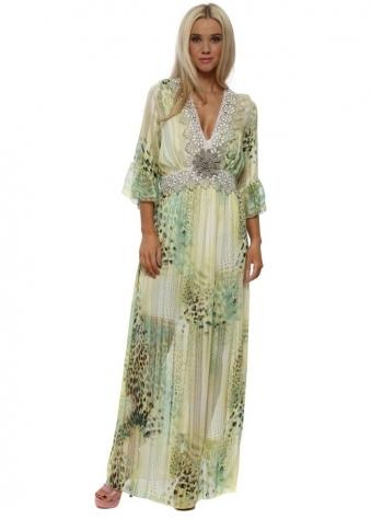 Lemon Leopard Print Chiffon Lace Trim Maxi Dress