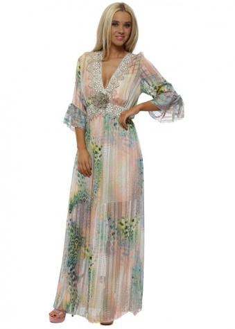 Pink Leopard Print Chiffon Lace Trim Maxi Dress