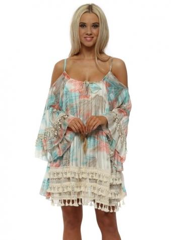 Pastel Province Boho Cold Shoulder Tunic Dress
