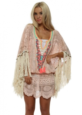 Miss Coco Pink Big Tassel Kaftan Top