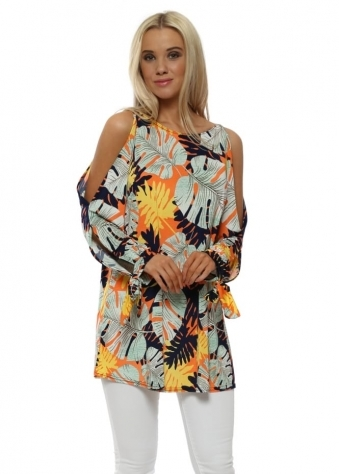 Yellow Palm Print Cold Shoulder Top