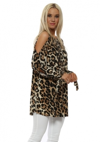 Big Leopard Print Cold Shoulder Top