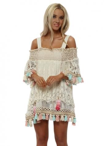 Etage Cream Lace Layered Beach Dress