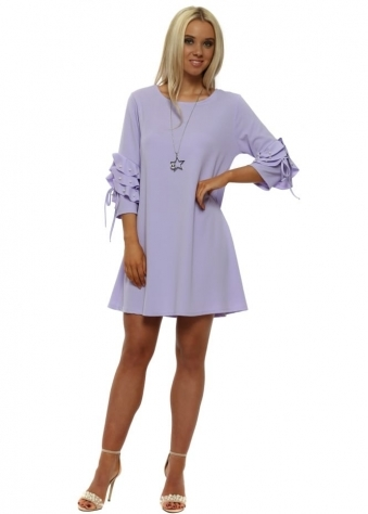 Lilac Pearl Embellished Necklace Shift Dress