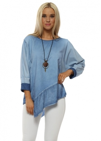 Denim Blue Asymmetric Cotton Necklace Top