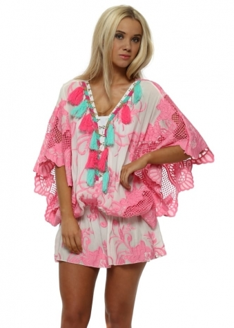 Miss Coco Hook & Eye Pink Embroidered Kaftan Top