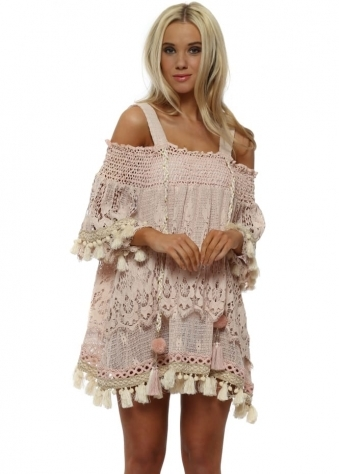 Etage Pink Lace Layered Tassel Beach Dress