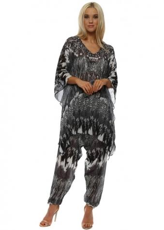 Grey Feather Print Kaftan Lounge Suit
