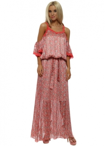Coral Ditsy Floral Print Cold Shoulder Maxi Dress