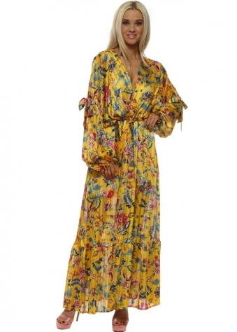 Yellow Floral Bow Tie Cross Over Chiffon Maxi Dress