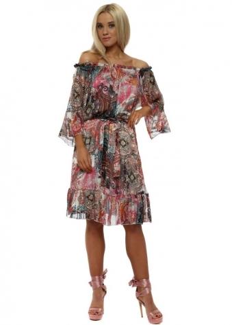 Paisley Chiffon Frill Sleeve Bardot Dress