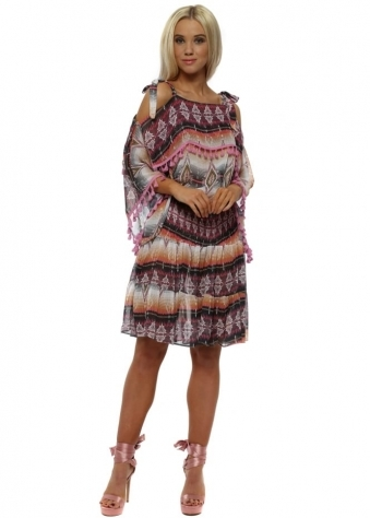 Black & Pink Aztec Cold Shoulder Pom Pom Dress