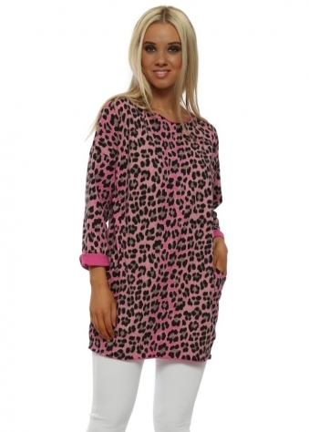 Pink Leopard Print Cotton Pockets Top