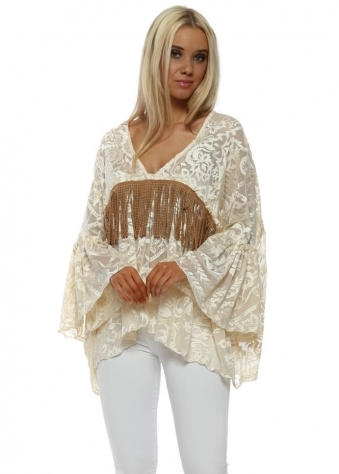 Cream Tulle Embroidered Tassle Blouse Top