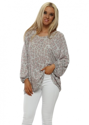 Grey Leopard Print Relaxed Top
