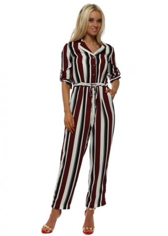 Burgundy Bold Striped Jumpsuit
