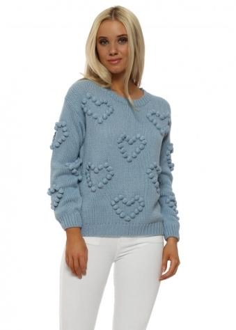 Blue Bobble Heart Big Knit Jumper