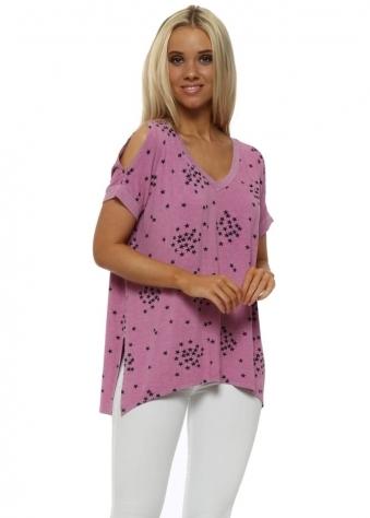 Sukhi Pinkest Starry Jersey Open Sleeve T-Shirt