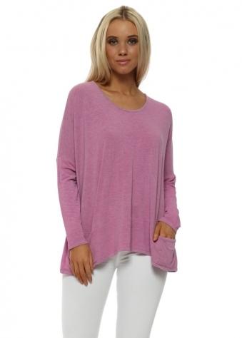 Pammy Pinkest Melange Slouch Jersey Pockets Top