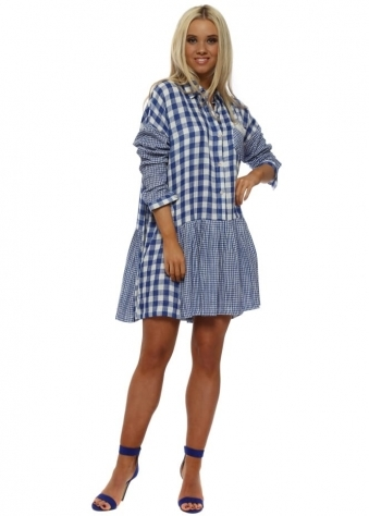 Bright Blue Gingham Cotton Shirt Dress