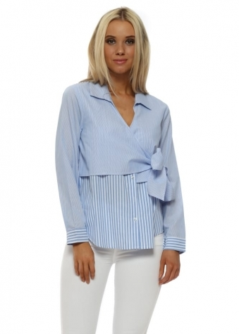 Blue Pinstripe Side Tie Cotton Shirt