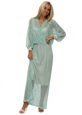 Aqua & Gold Crochet Wrap Front Maxi Dress