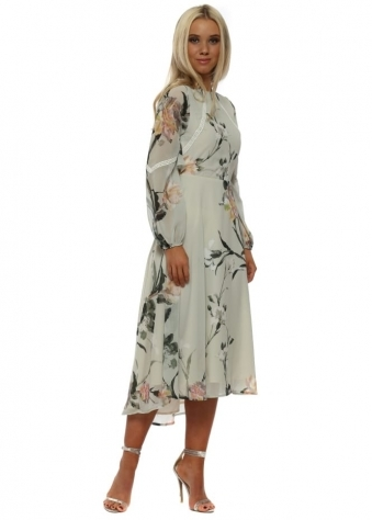 Sage Green Printed Ruffle Open Back Detail Dress