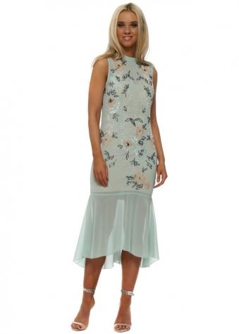 Embellished Drop Hem Pencil Dress