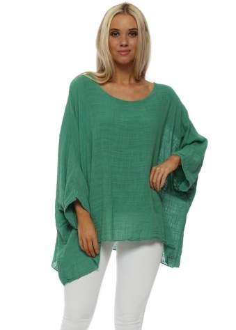 Green Cotton Oversized Batwing Top