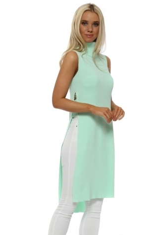 Mint Polo Neck Ladder Side Longline Jumper