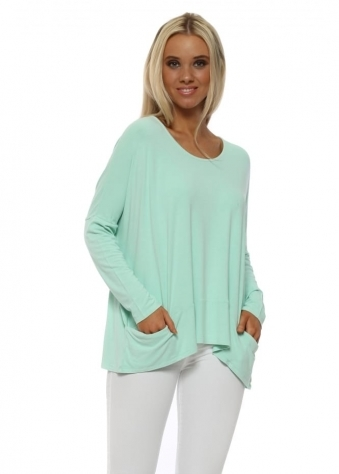 Pammy Sea Jade Slouch Jersey Pockets Top