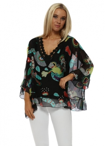 Black Artistic Shapes Silk Batwing Top