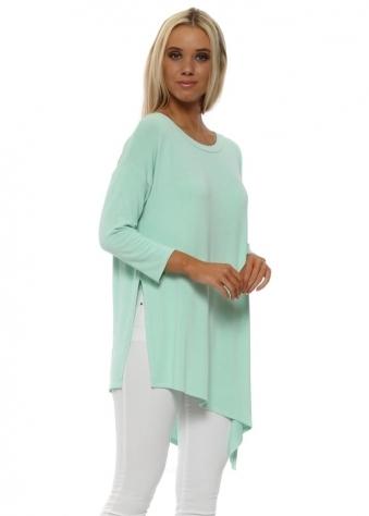 Fabiola Sea Jade Long Sleeve Asymmetric Tunic Top